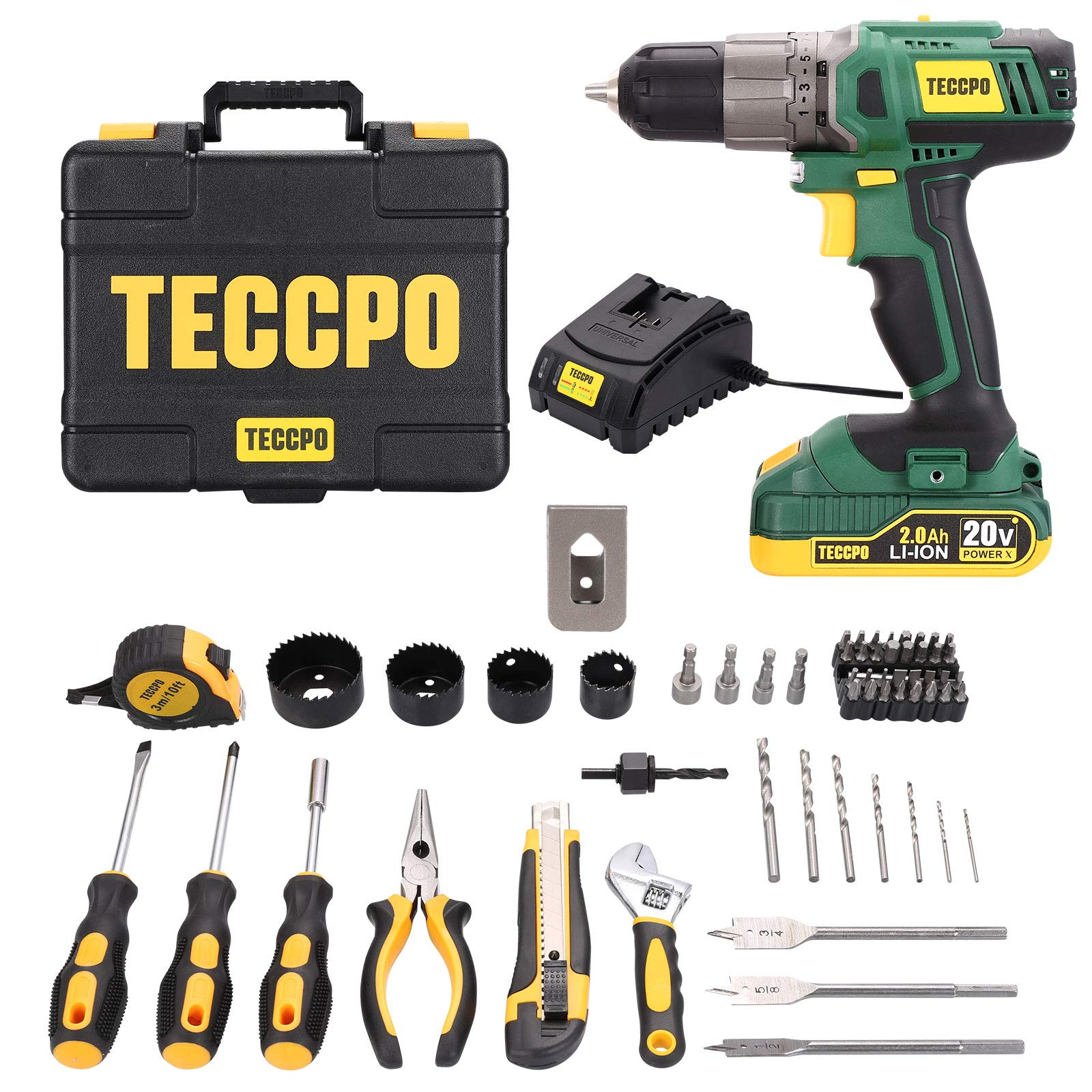 TECCPO Home Tool Kit & Drill, 63Pcs, 2.0Ah Battery and 1 Hour Fast Charger, Cordless Drill with 310 in-lbs Max Torque, 21+1 Clutch, Socket, Screwdriver, Wrench, Storage Toolbox - BHD100D