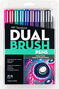 Tombow 56188 Dual Brush Pen Art Markers, Galaxy, 10-Pack. Blendable, Brush and Fine Tip Markers