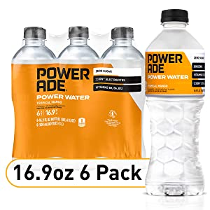 POWERADE Power Water, Tropical Mango, Zero Sugar Zero Calorie ION4 Electrolyte Enhanced Fruit Flavored Sports Drink Bottled Water, w/ Vitamins B3, B6, and B12, 169 fl oz