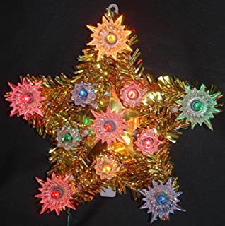 55 lighted everglow gold tinsel star christmas tree topper multi color lights - Porcelain Christmas Tree With Lights