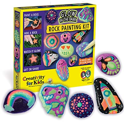 Creativity for Kids Glow In The Dark Rock Painting Kit - Paint 10 Rocks with Water Resistant Glow Paint - Crafts for Kids: Toys & Games
