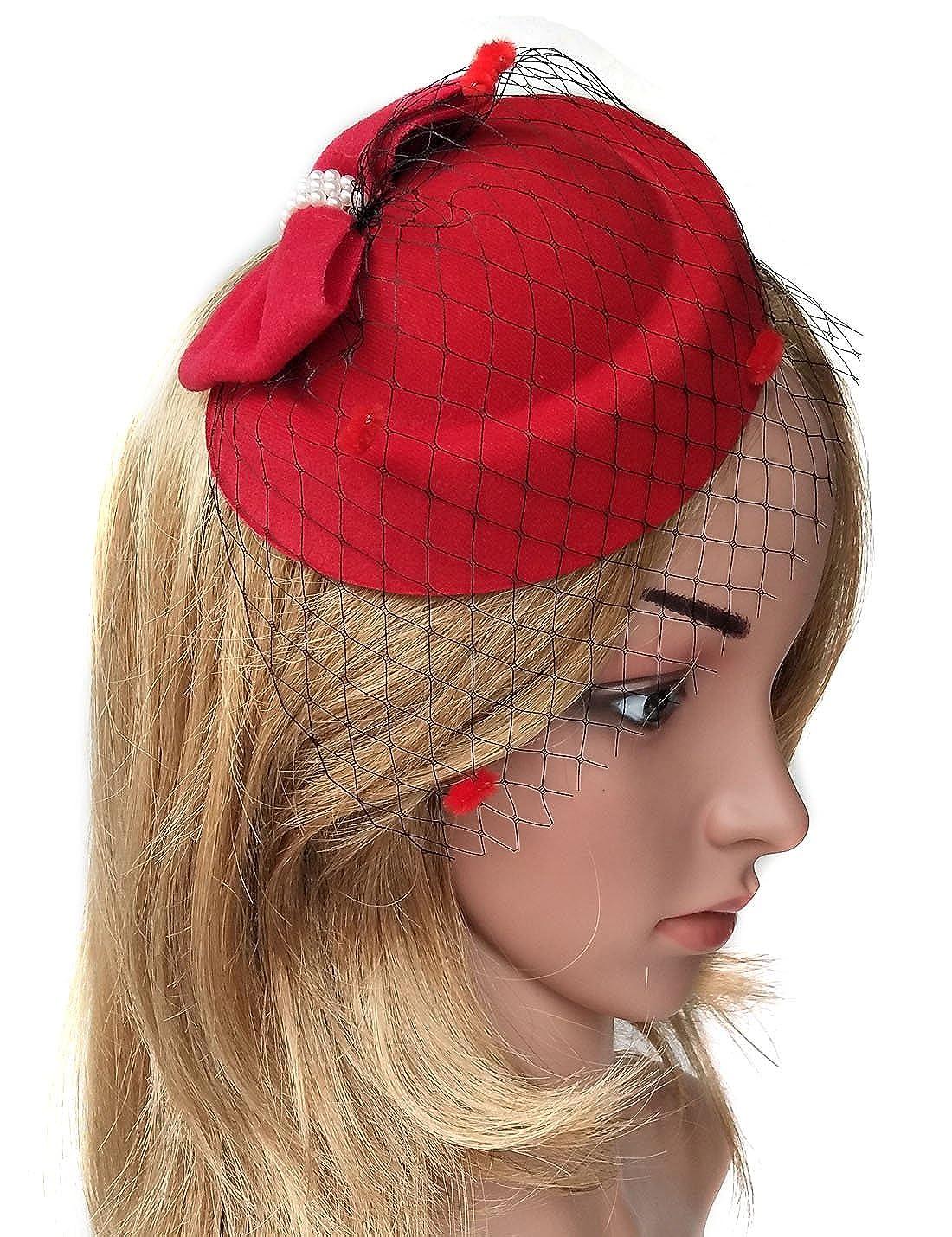 Biruil Fascinator Hats for Women Pillbox Hat Veil Headband Clip for Tea Party Headwear