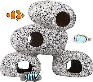 Hamiledyi Resin Cichlids Rock Decor Stackable Aquarium Decoration Caves Small Fish Tank Stone Hideaway Ornaments Betta Hideout Fish Tank Accessories for Aquatic Short Bream Crayfish Breed Play Rest