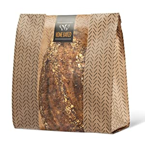 Pack of 30 Kraft Paper Bread Bags for Homemade Bread - Large PE Coated Bakery Bags with 30 Stickers - Elegant Packaging for Sourdough Loaf, Cookies, and Baked Gifts - 14 x 10 x 4 Inches