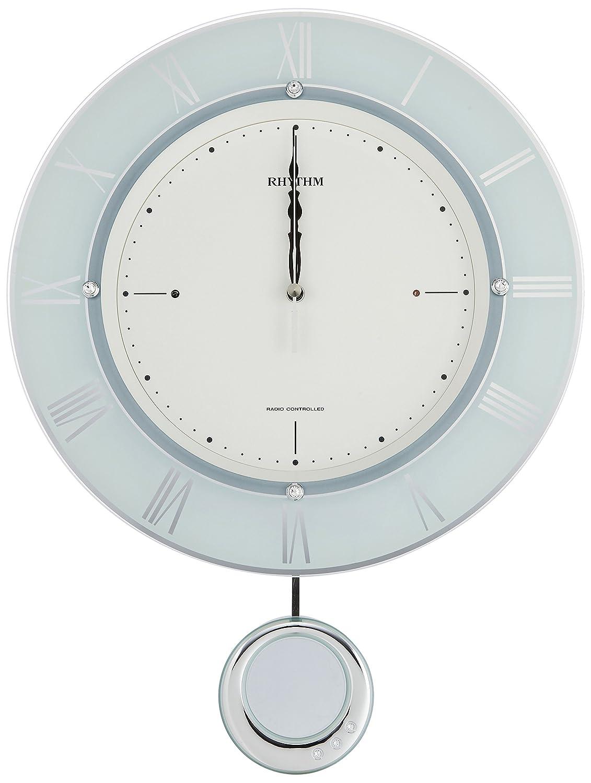 リズム時計 掛け時計 電波 アナログ 振り子 トライメテオ クリスタル 飾り付き 緑 RHYTHM 8MX402SR05 B00Y0BAHNU