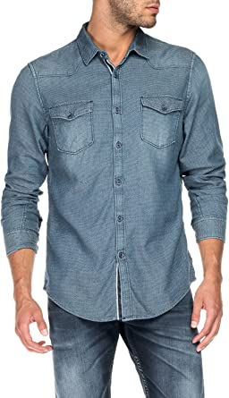 Salsa – Camisa vaquera de jacquard con efecto lavado para hombre azul XL : Amazon.es: Ropa y accesorios