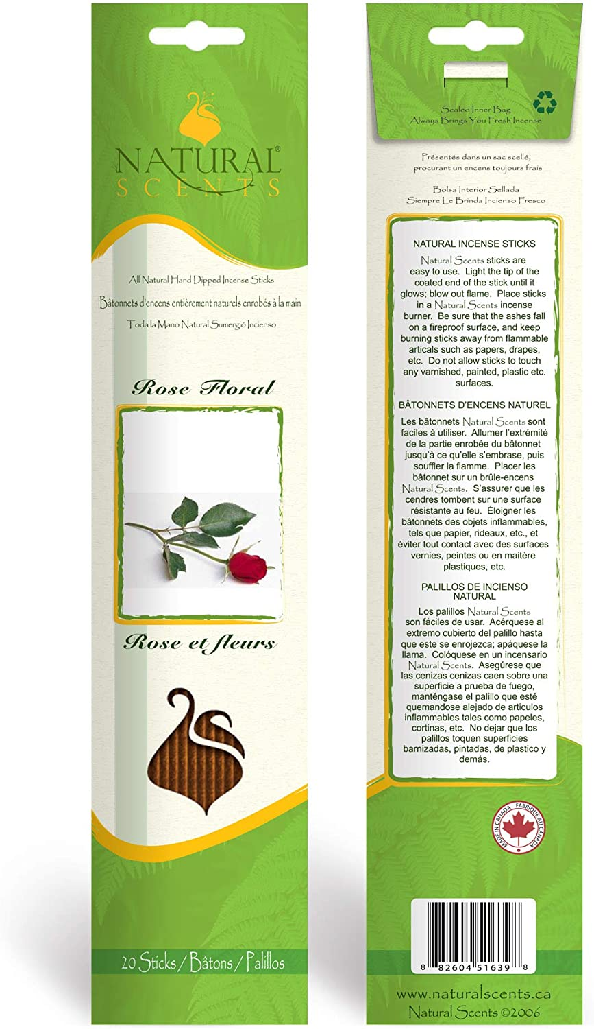 Perfect for Meditation Healing Yoga Relaxation 100/% Natural Hand Dipped Incense Sticks Made in Canada 11 inch 20 sticks per package. Rose Floral// Rose et Fleurs Prayer /& Rituals Aromatherapy