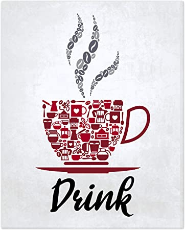 Amazon Com Red Maroon Grey White Mosaic Vintage Inspirational Kitchen Restaurant Cafe Bar Wall Art Decorations Eat Drink Love Wine Coffee Hearts Prints Posters Signs Sets Rustic Farmhouse Country Home Dining Room House