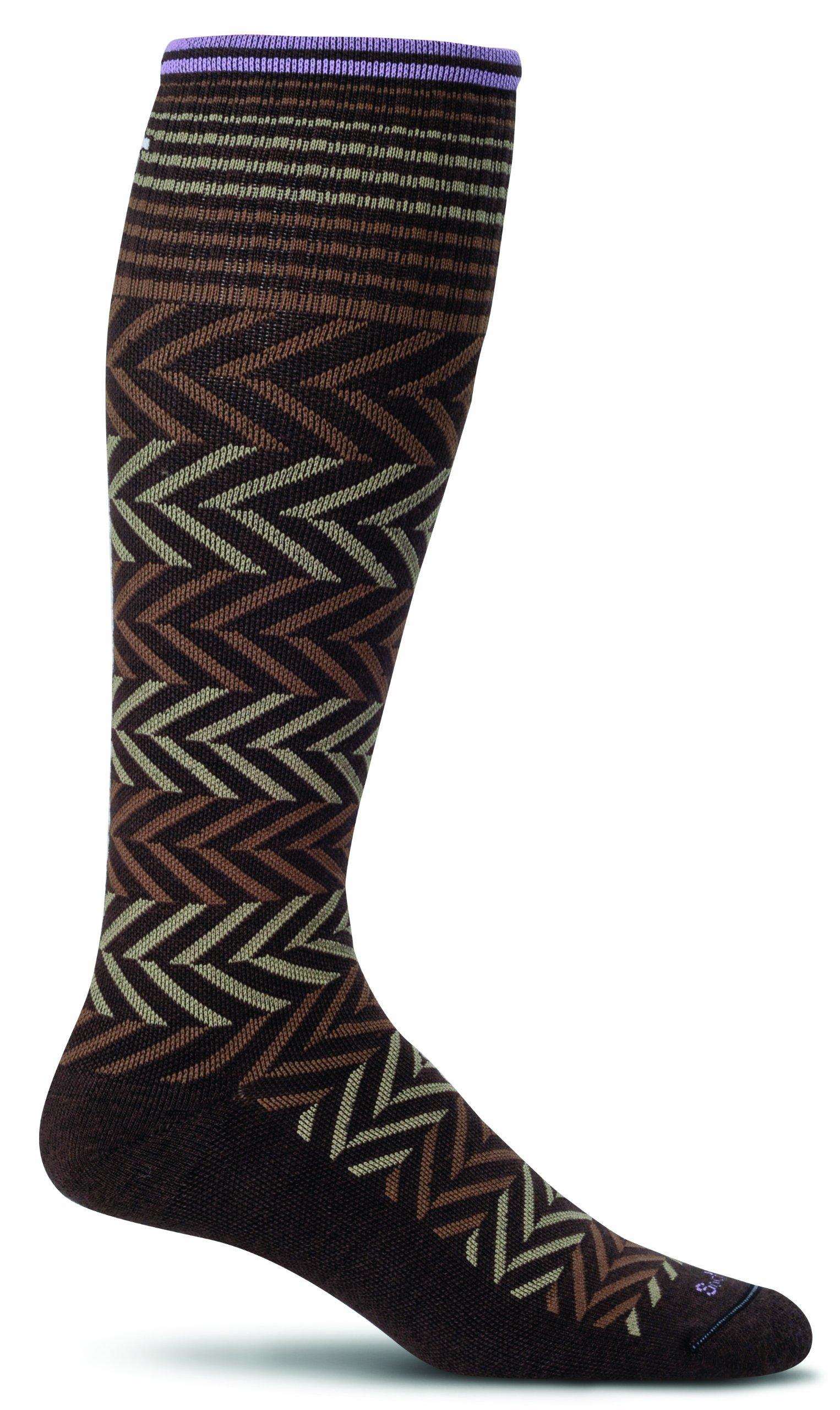 Sockwell Women's Chevron Graduated Compression Socks, Espresso, Small/Medium by Sockwell
