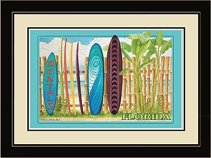 Noroeste Art Mall ed-4158 lfgdm Florida tabla de surf alquiler enmarcado pared arte,
