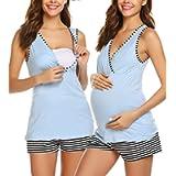 Ekouaer 3 in 1 Labor Delivery Nursing PJS Maternity Nursing Pajamas Shorts Set Stripe Breastfeeding Sleepwear