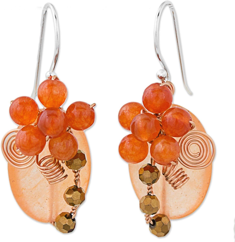 NOVICA Quartz .925 Sterling Silver Beaded Earrings 'Garden Bliss in Orange'