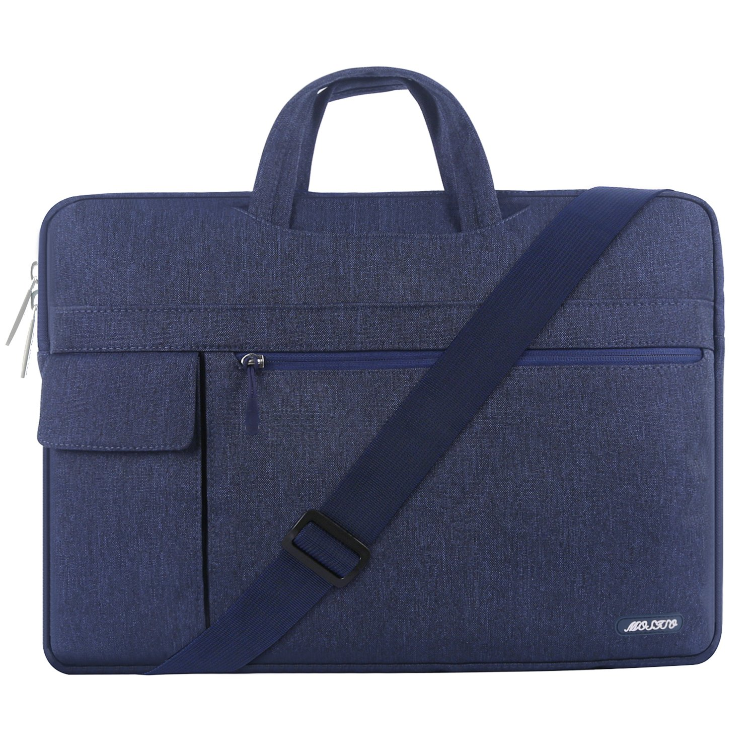MOSISO Laptop Shoulder Bag Compatible 15-15.6 Inch New MacBook Pro with Touch Bar A1990 & A1707 2018 2017 2016, MacBook Pro, Also Fit 14 Inch Ultrabook, Polyester Flapover Briefcase Sleeve, Navy Blue