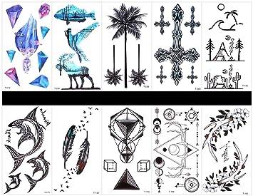 Interookie - 10 pegatinas de tatuaje falsos con tatuajes ...