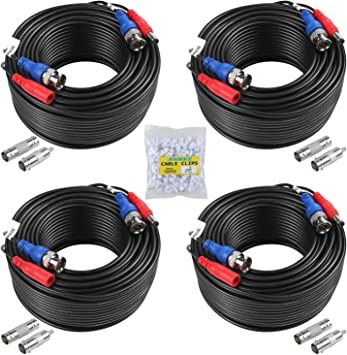 SANNCE 1x 100ft BNC Video Power Cable Connector for Security Camera System Black