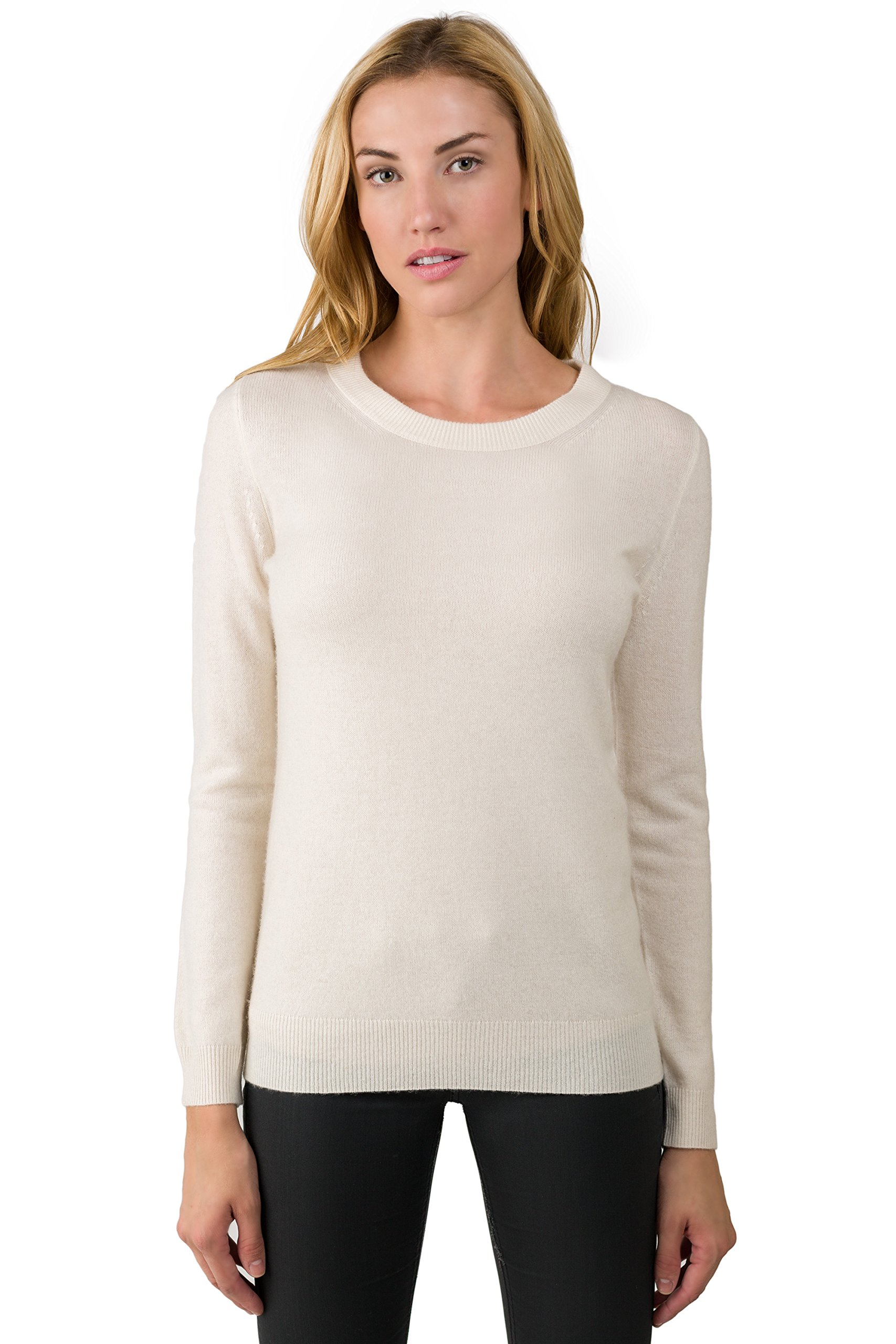 JENNIE LIU Women's 100% Pure Cashmere Long Sleeve Crew Neck Sweater (2X, Cream£