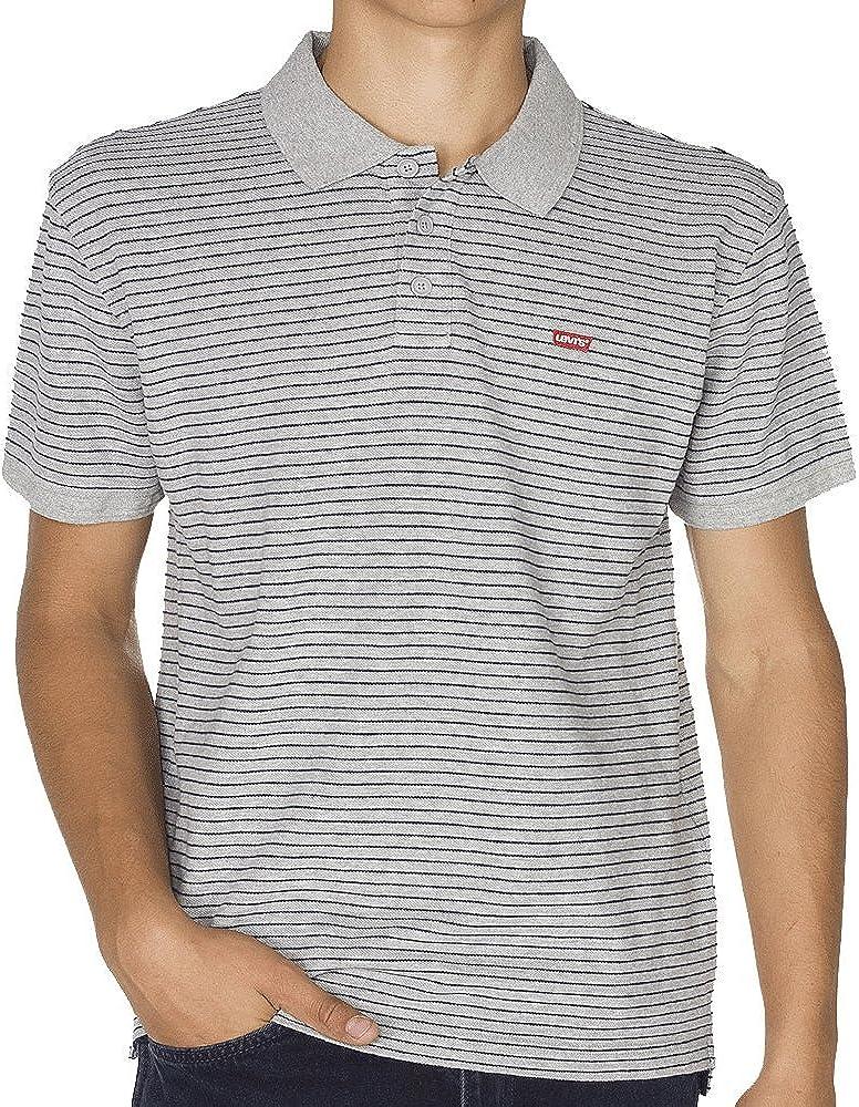 Levi's Men's Housemark Polo Shirt Grey (C34542 Feeder Stripe Owl Grey Heather/Dress Blues Stripe Mk162022_02 26)