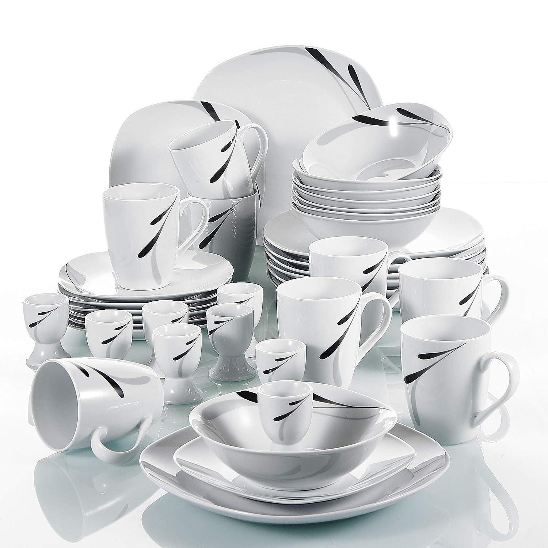 12 Assiettes /à d/îner 12 Assiettes /à Soupe 180 ML Service de Table 12 Personnes 12 Assiettes /à Dessert VEWEET 36 s/érie /«Karla/»,Set de Vaisselle pi/èces en Porcelaine Blanche