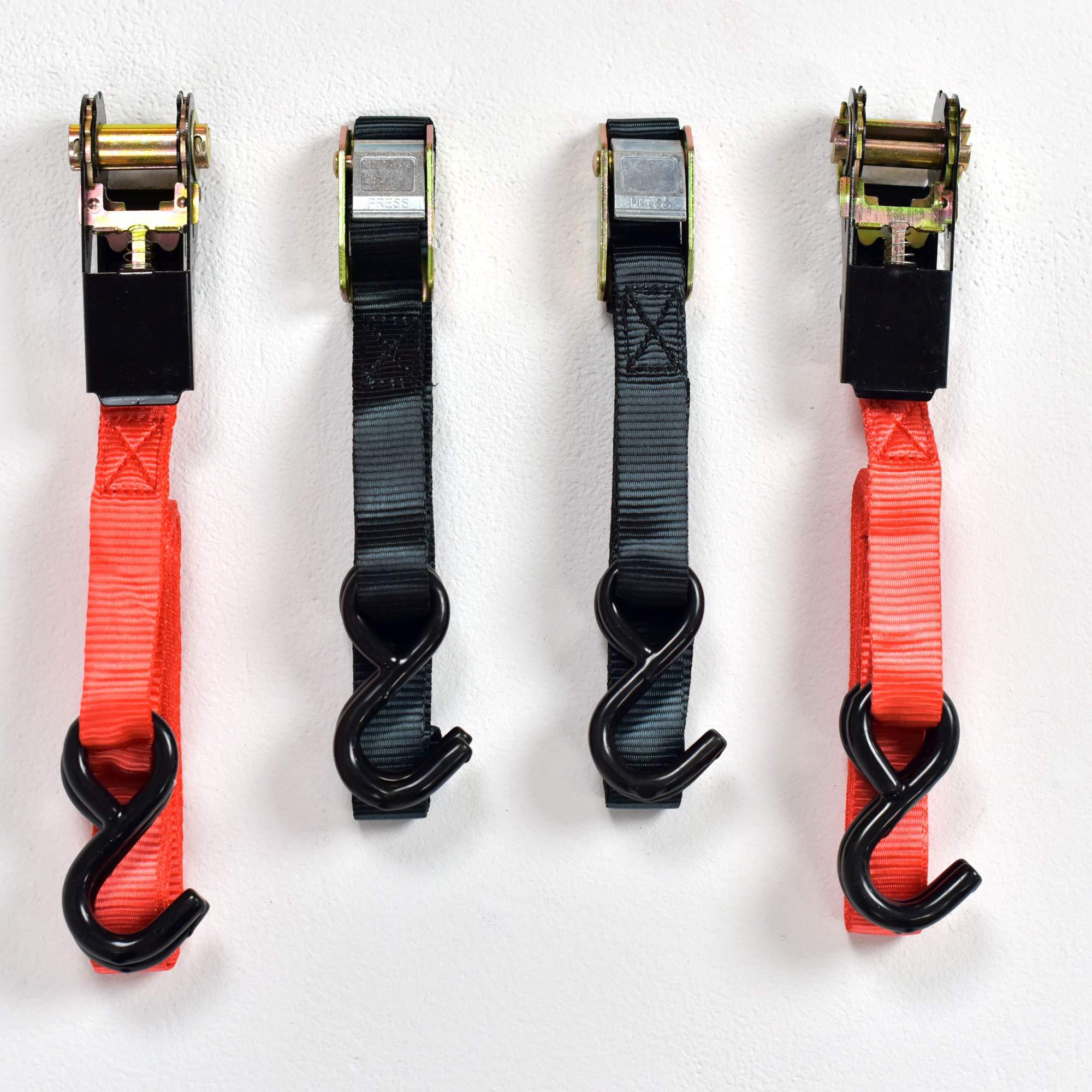 4pc Ratchet/Cambuckle Tie Down Set