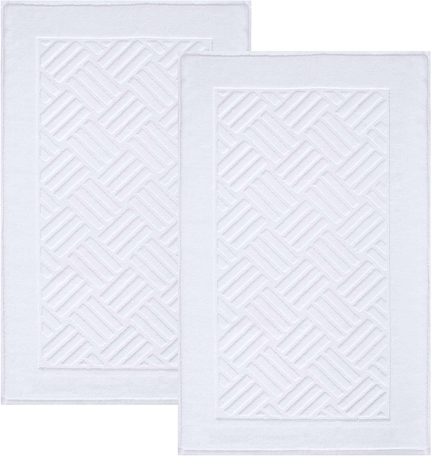 TOMORO Luxury Bath Mat Towels - 2 Pieces Cotton Absorbent Hotel Spa Shower Floor Towel Set for Bathroom with Non-Slip Rug Pad 20 x 32 inches