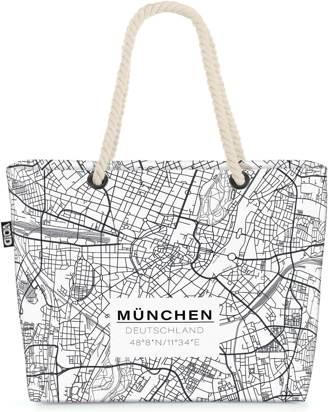 VOID Mapa de Munich Bolsa de Playa 58x38x16cm 23L Shopper Bolsa de Viaje Compras Beach Bag Bolso