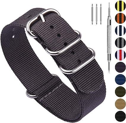 Fullmosa Bracelets de Remplacement en Nylon Facilement Interchangeables pour Homme Femme, pour Montres Connectées,Plusieurs Couleurs, 18mm, 20mm,