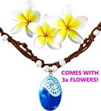MOANA NECKLACE Disney Costume Accessory Movie Gift For Girls | Heart of Te Fiti Gorgeous Blue Pendant, Faux Leather, Pearl | Children Adults Kids Toys Princess Doll Birthday Party Supplies Cosplay