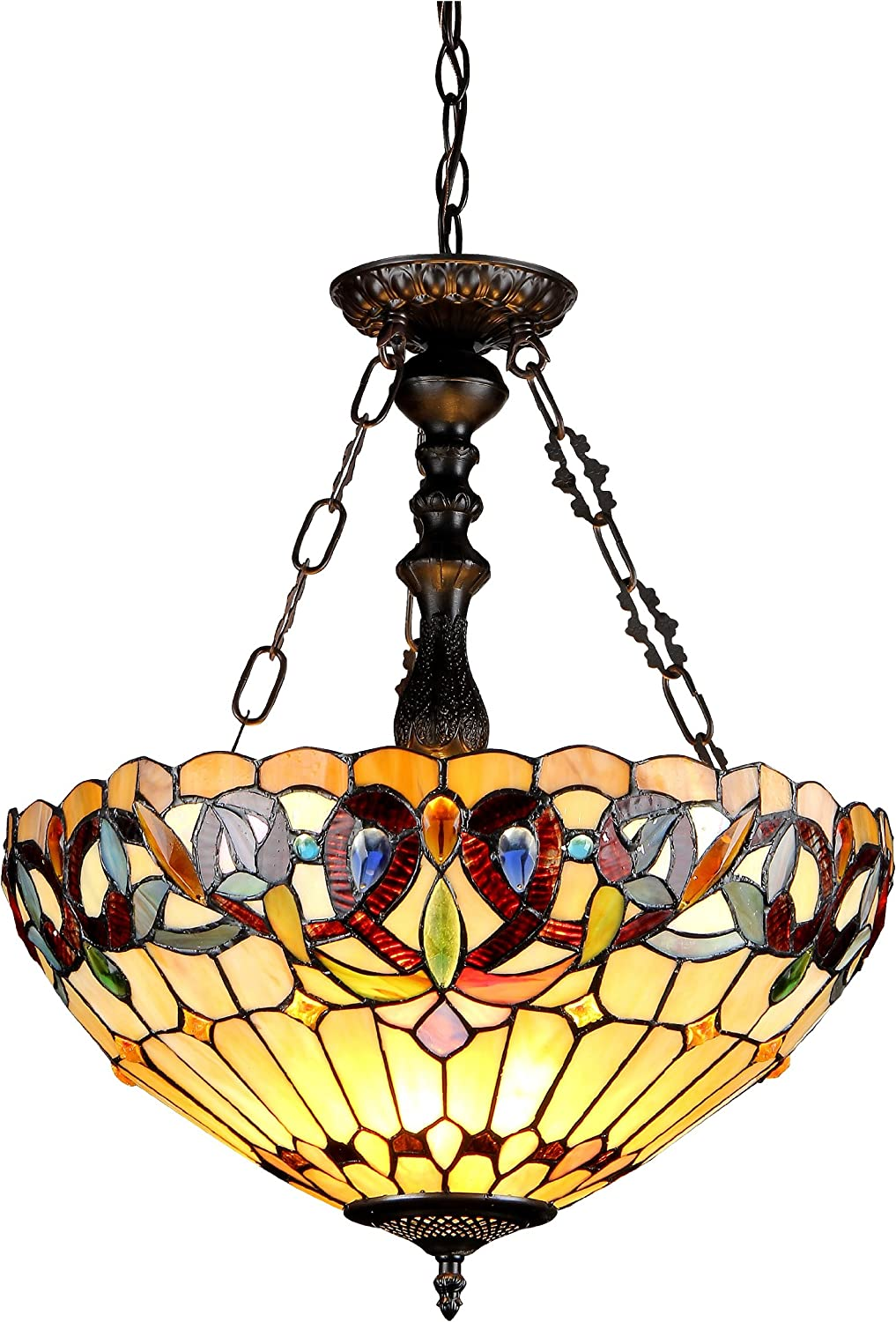 Chloe Lighting CH33353VR18-UH3 Serenity Tiffany-Style Victorian 3-Light Inverted Ceiling Pendant with Shade, 24.7 x 18.1 x 18.1 , Bronze