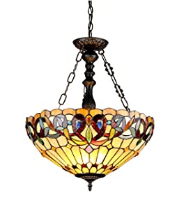 """Chloe Lighting CH33353VR18-UH3 Serenity Tiffany-Style Victorian 3-Light Inverted Ceiling Pendant with Shade, 24.7 x 18.1 x 18.1"""", Bronze"""