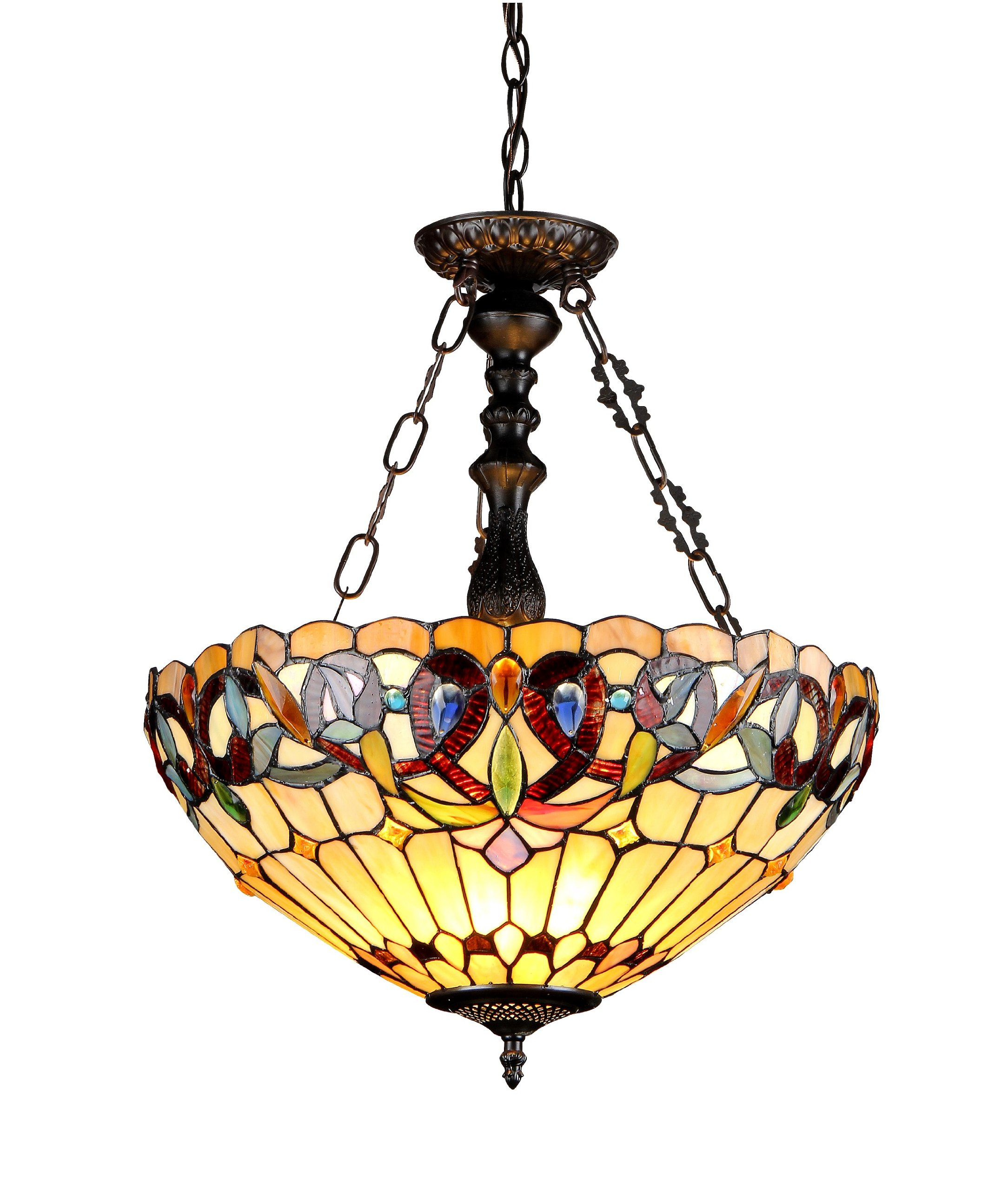 Chloe Lighting CH33353VR18-UH3 Serenity Tiffany-Style Victorian 3-Light Inverted Ceiling Pendant with 18-Inch Shade