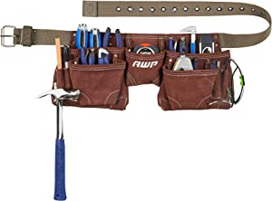 AWP Suede Leather General Construction Tool Pouch Belt Apron | 11 Pockets for Tool Organization, brown, 50 in.