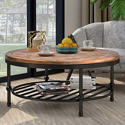P PURLOVE Easy Assembly Hillside Rustic Natural Coffee Table with Storage Shelf for Living Room Round