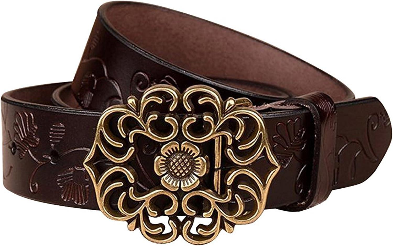 NormCorer Cinturón de cuero de la hebilla de la flor del cuero genuino de las mujeres para los pantalones vaqueros