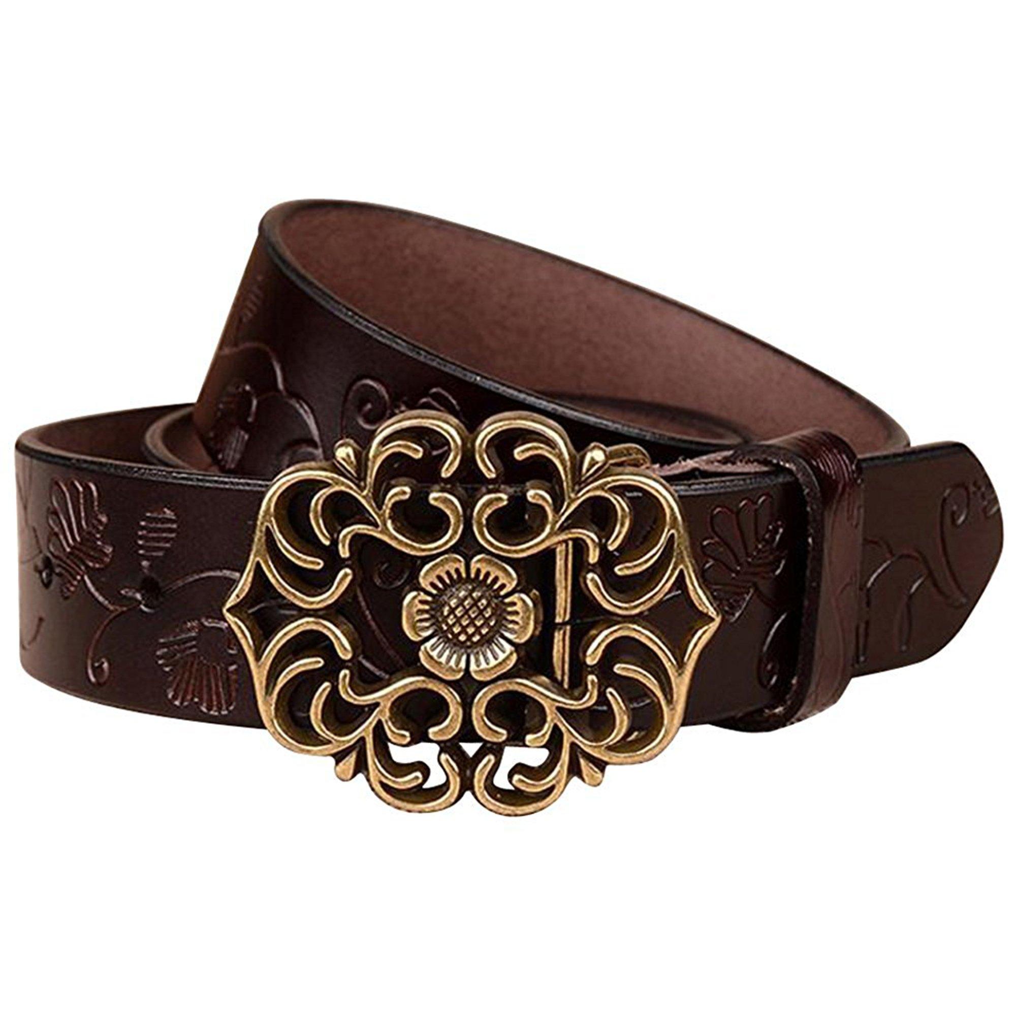 NormCorer Cinturón de cuero de la hebilla de la flor del cuero genuino de  las mujeres 4f65d2b6bc73