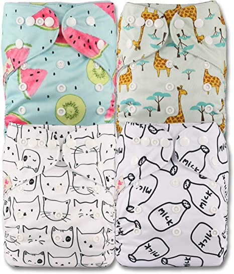 Fastener: Popper Patterns 804 Set of 8 Littles /& Bloomz Reusable Pocket Cloth Nappy with 8 Microfibre Inserts