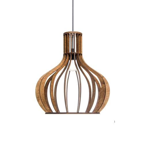 Kitchen Pendant Lighting For Modern Minimalistic Scandinavian Rustic Styles Wood Lamp Shade For Dining Room Living Room Brown Hanging Light