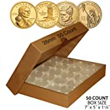 50 PRESIDENTIAL $1 Direct-Fit Airtight 26mm Coin Capsule Holder (QTY: 50) w/ BOX