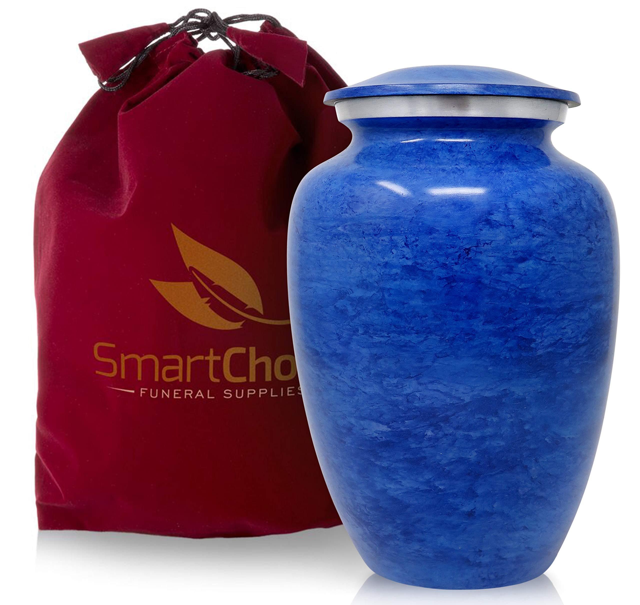 SmartChoice Cremation Urn for Human Ashes – Handcrafted Funeral Memorial Urn in Elegant Light Blue (Adult)