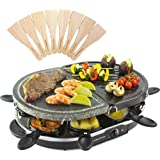 Andrew James Electric Half/Half Raclette Stone Hot Plate and Teppanyaki Griddle - Party Grill Machine with Non-Stick Hotplate 8 Fondue Cheese Pans and Wooden Spatulas Set for Indoor Table Top Use
