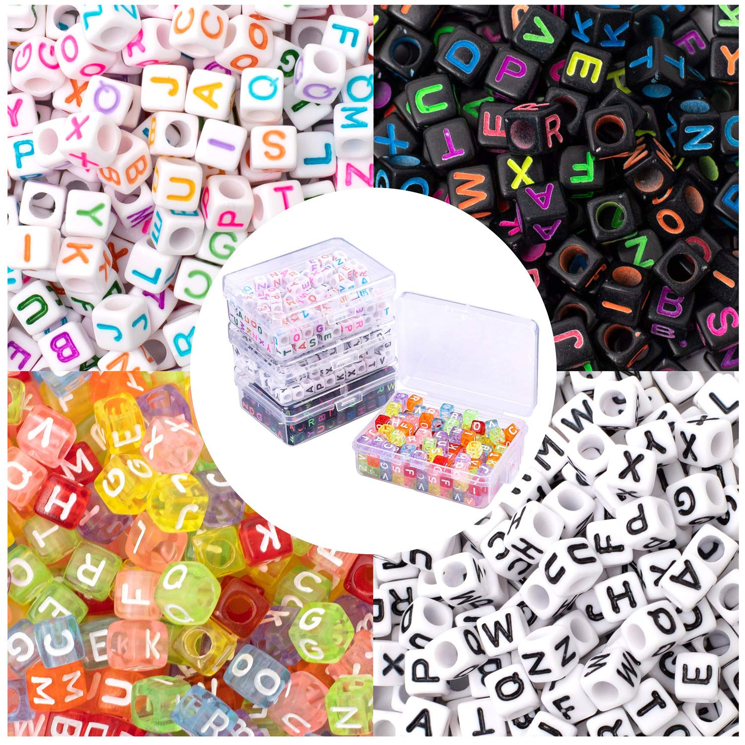 Whaline 800 Pieces 4 Colors Acrylic Alphabet Letter Beads in 4 Storage Case with 16 Feet Crystal Thread for Kids DIY Jewelry Making Key Chains (6 mm)