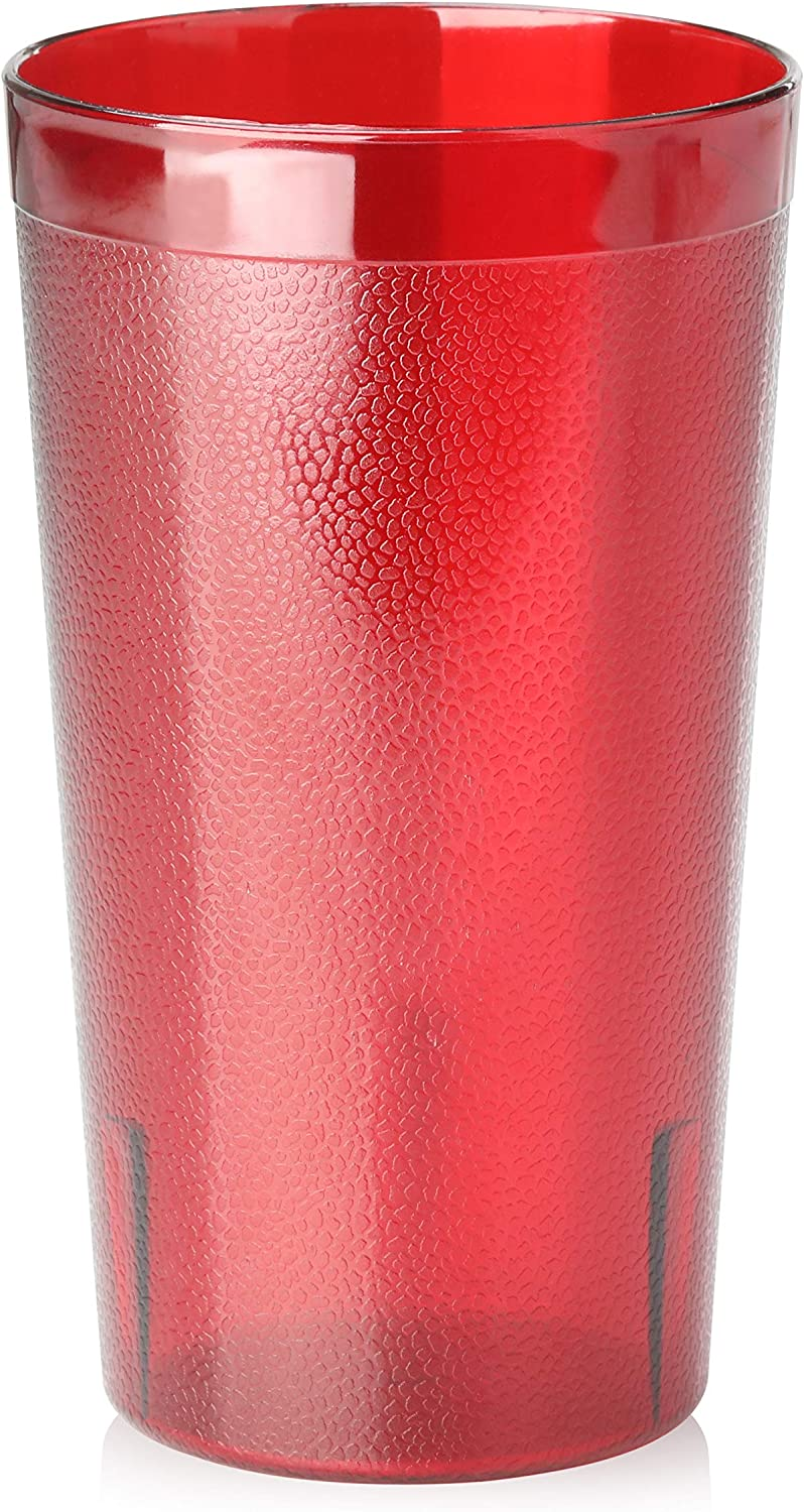 New Star Foodservice 46335 Tumbler Beverage Cup, Stackable Cups, Break-Resistant Commercial Plastic, 12 oz, Red, Set of 72
