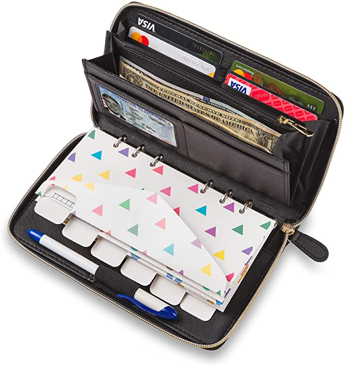 Cash Envelope Wallet All in One Budget System with 12x Tabbed Cash Envelopes, 12x Monthly Budget Cards,1x Yearly Budget Planner Sheet Complete Money Organizer Set for Cash