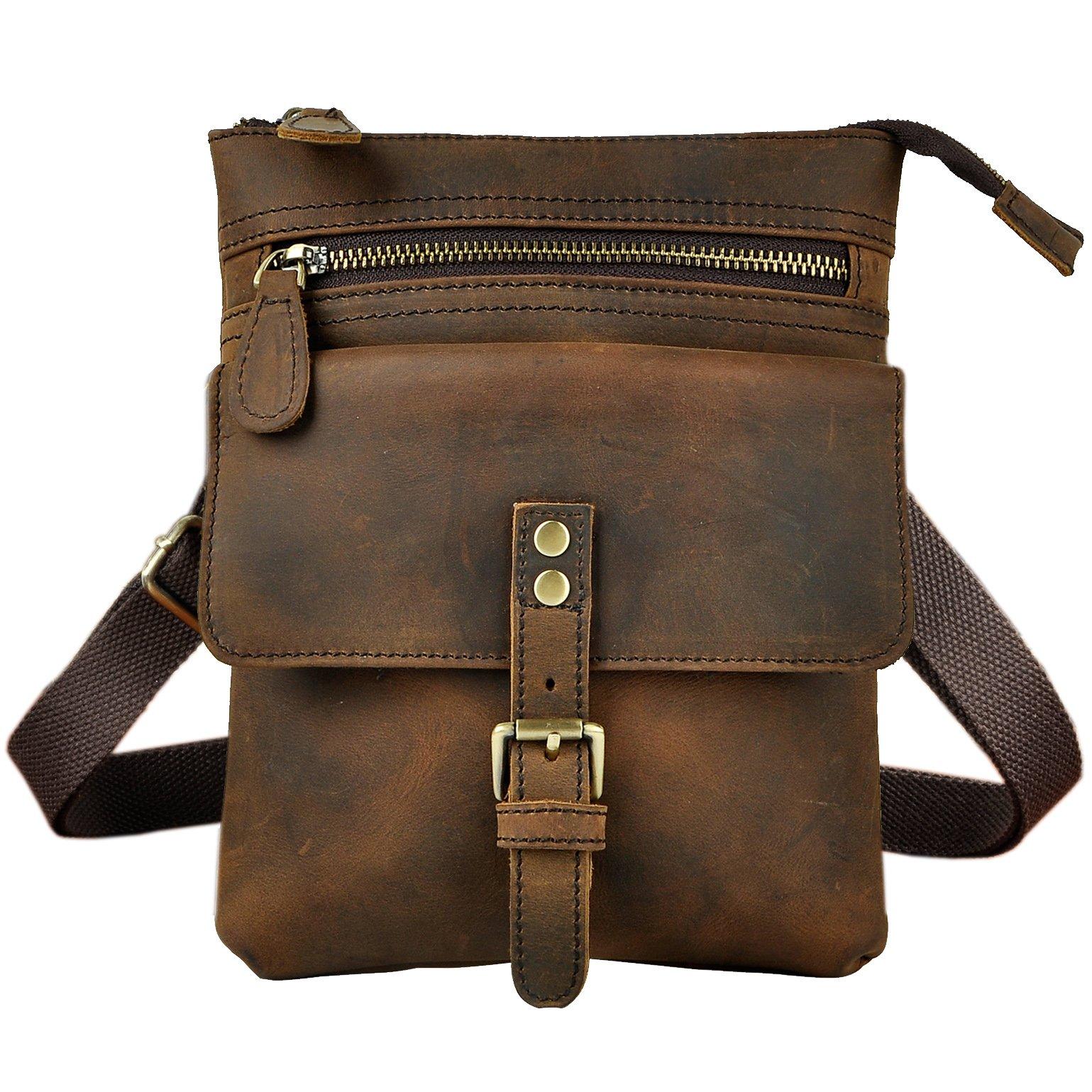 Le'aokuu Mens Genuine Leather Coffee Fanny Small Messenger Shoulder Satchel Waist Bag Pack (The 6574 Dark Brown)