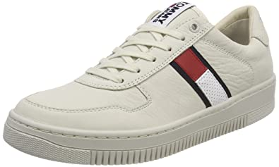 Mens Tj Nubuck Basket Low-Top Sneakers, White Tommy Jeans