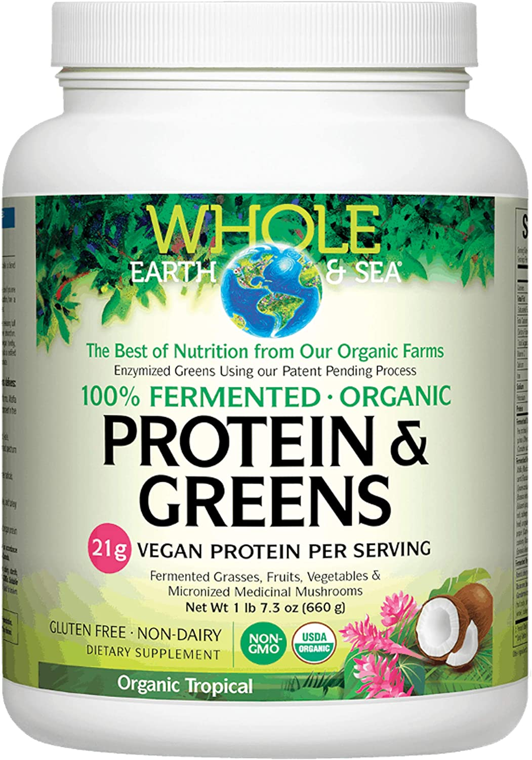 Whole Earth & Sea from Natural Factors, Organic Fermented Protein & Greens, Whole Food Supplement, Vegan, Non-Dairy, Tropical, 1 lb 7.3 oz (20 Servings)
