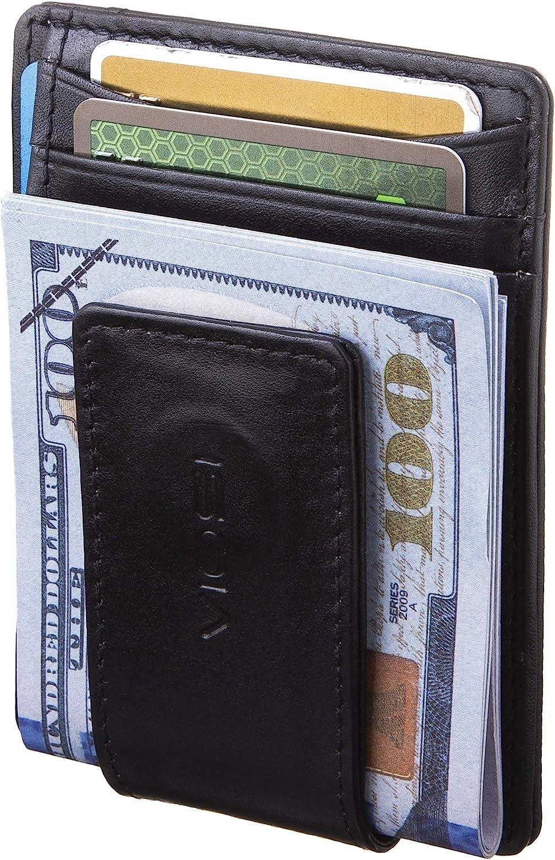 Credit Card Holder Business Slim Leather Wallet Id Clip Men Genuine Pocket Money