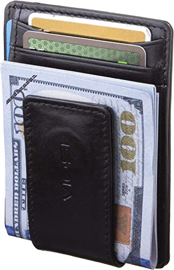 Men/'s Money Clip Wallet Slim Front Pocket RFID Blocking Card Holder Minimalist B