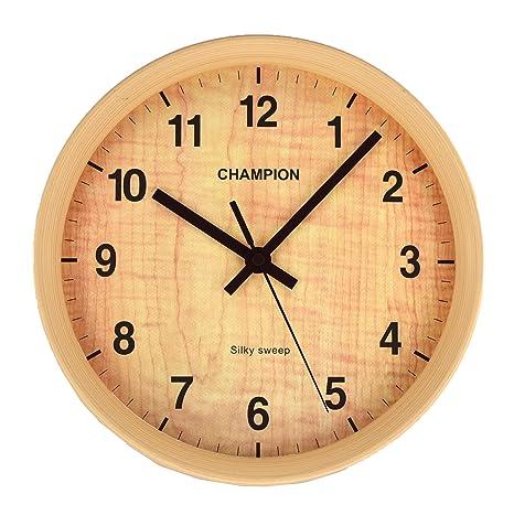 d430b87a372e56 Champion, orologio da parete al quarzo, compatto con lancetta dei secondi,  effetto legno