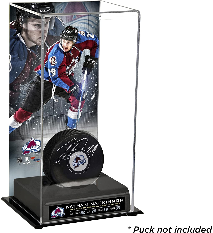 Nathan MacKinnon Colorado Avalanche Deluxe Tall Hockey Puck Case Hockey Puck Display Cases No Logo