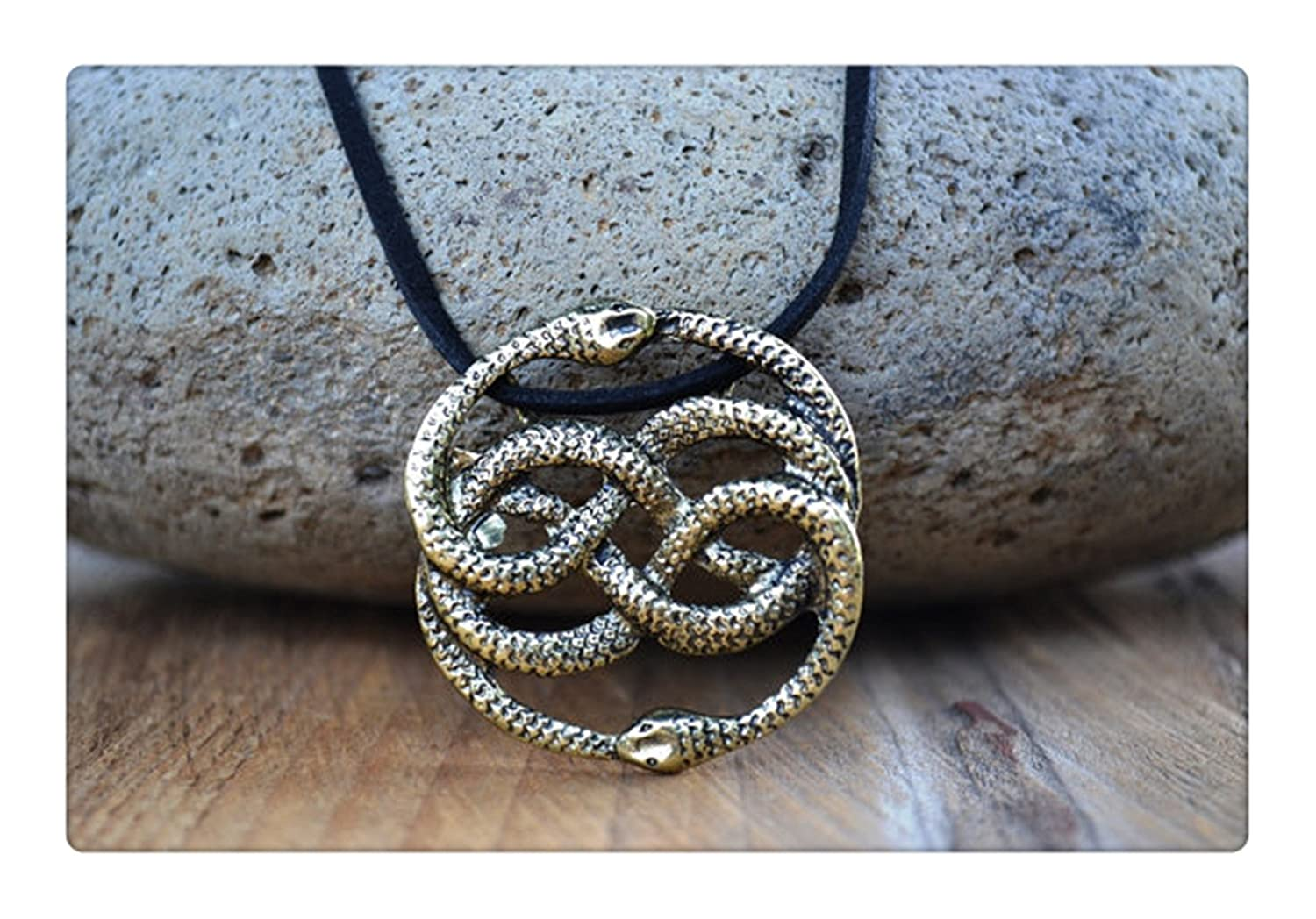 Neverending Story Antique Bronze Necklace, Auryn Necklace, Leather, Choker Option, Never Ending Story Snake Pendant, DSD D5